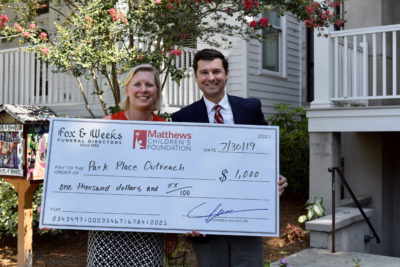Fox & Weeks presents Matthews Children's Foundation  grant to Park Place Outreach
